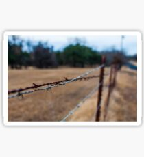 Rusty Barbed Wire Fence Sticker