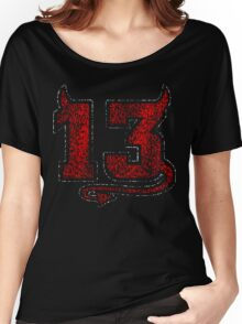 Lucky Devil 13 Distressed Women's Relaxed Fit T-Shirt