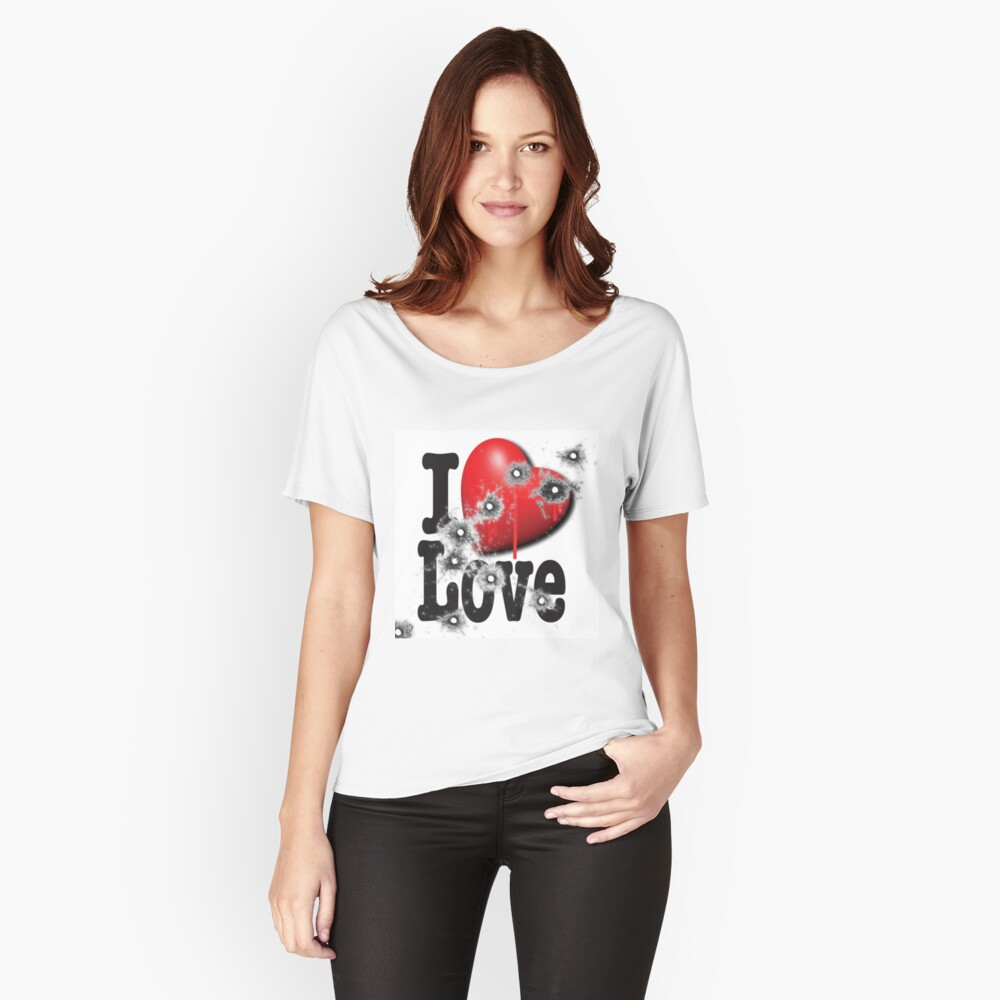 Heart Series Love Bullet Holes In Paintings Women's Relaxed Fit T-Shirt Front