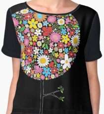Whimsical Colorful Spring Flowers Pop Tree Chiffon Top