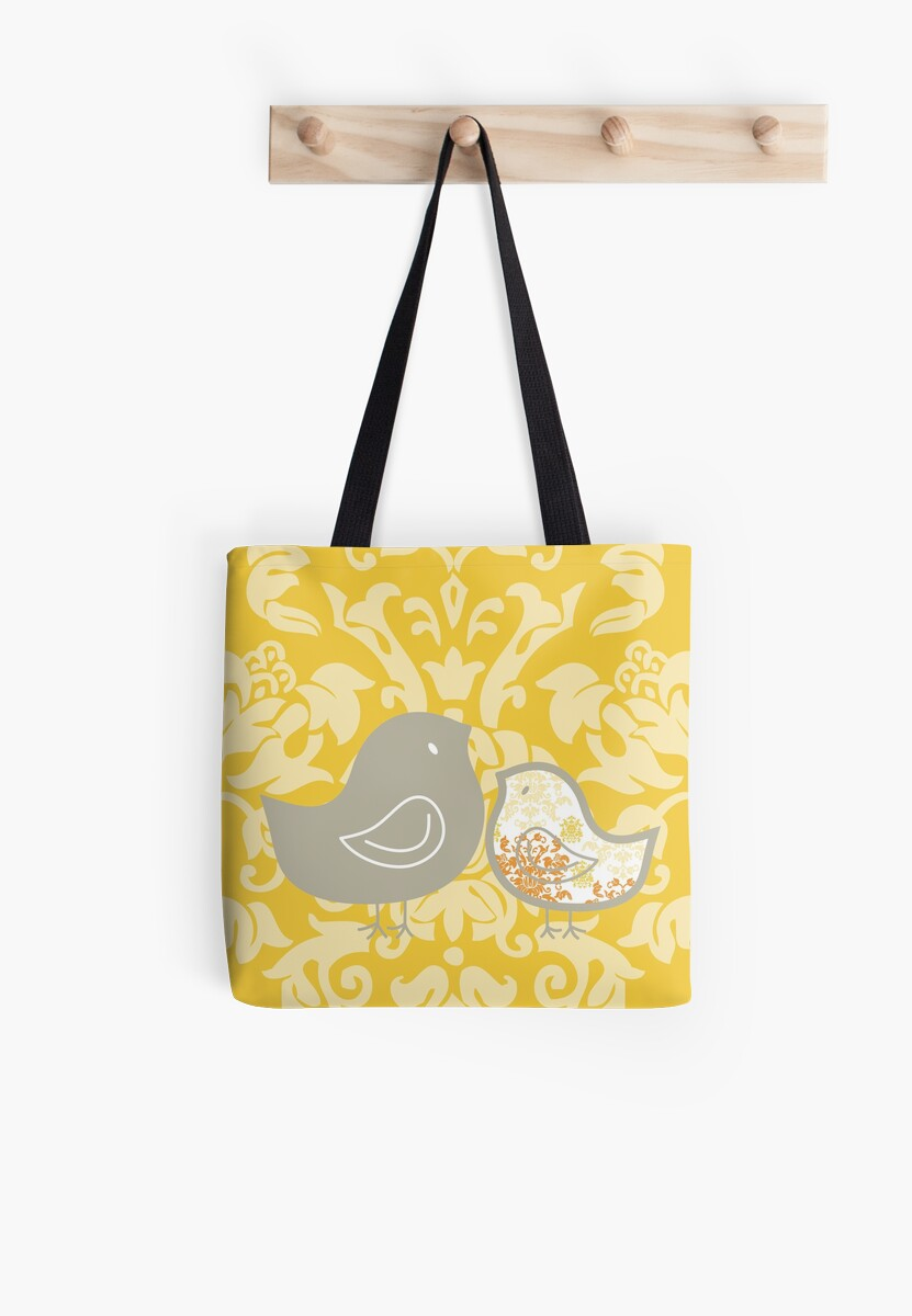 Sweet Yellow Damask Mommy and Baby Chicks by fatfatin