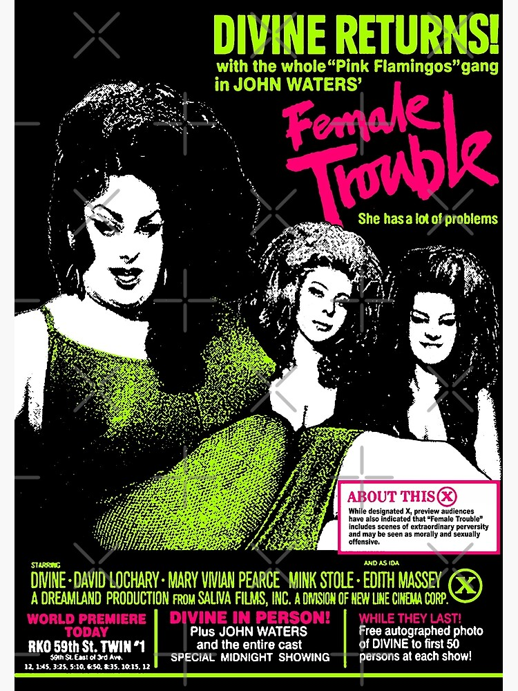 """Classic Movie Poster Various Sizes /""""Female Trouble/"""" .. Divine /& Mink Stole."""