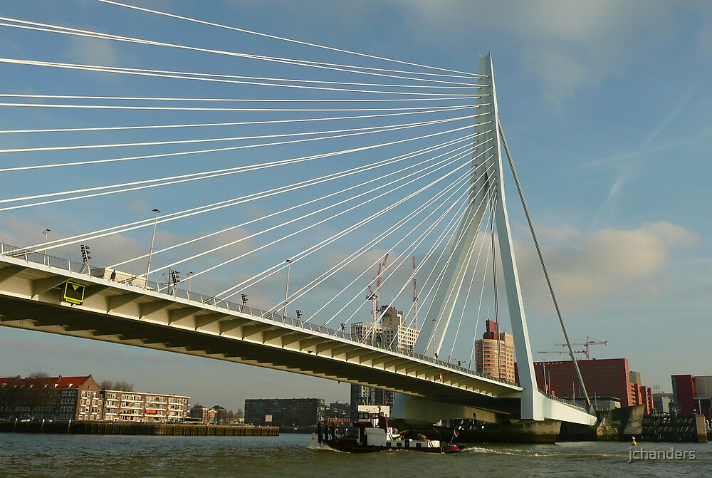 Passing under the Erasmusbridge at Rotterdam by jchanders