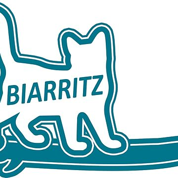 Biarritz France Surf Surfing Cat Typography by divotomezove