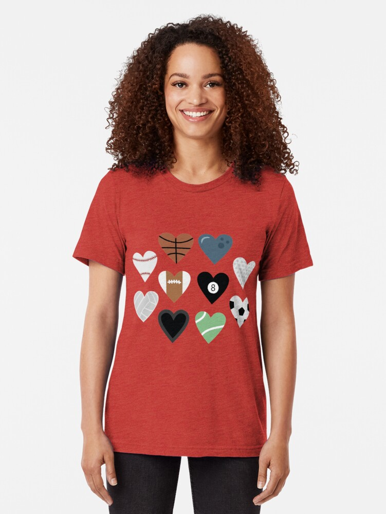 Alternate view of Sports lover and tennis bowling soccer baseball golf pool billiards Tri-blend T-Shirt