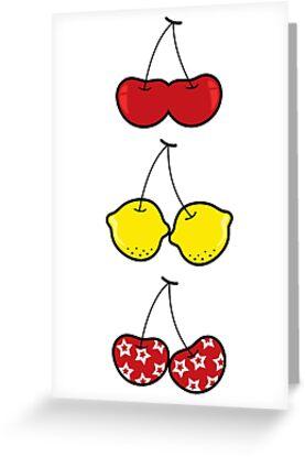 Fun Cheeky Cherries Lemons Trio by fatfatin