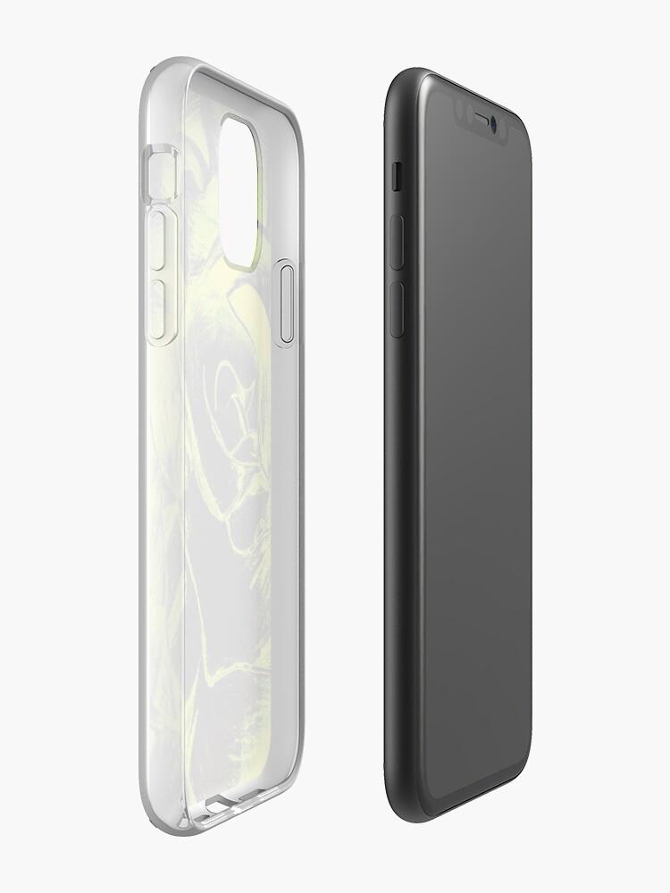 Coque iPhone «Conception de rose jaune et noir», par warddt