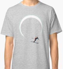 Mid Century Figure 8 Skiers in Retro Style on Teal Classic T-Shirt