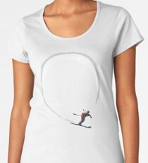 Mid Century Figure 8 Skiers in Retro Style on Teal Women's Premium T-Shirt