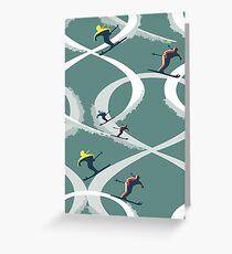 Mitte des Jahrhunderts Abbildung 8 Skifahrer im Retro-Stil auf Teal Grußkarte