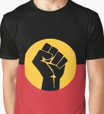 Raised Fist on Aboriginal Flag Graphic T-Shirt