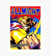 ALL MIGHT anime poster (with quote + signature) Art Print