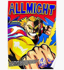 ALL MIGHT anime poster (with quote + signature) Poster
