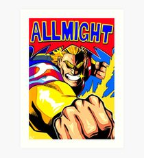 ALL MIGHT anime poster (clear) Art Print