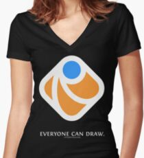 Everyone can draw (black) Women's Fitted V-Neck T-Shirt