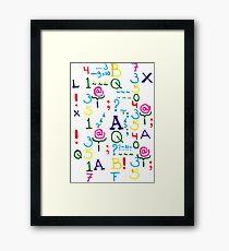 Digits & Letters Framed Print