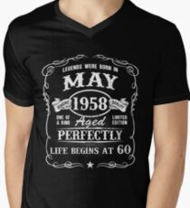 Born in May 1958 - legends were born in May  Men's V-Neck T-Shirt