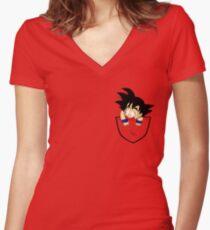 Pocket Goku Women's Fitted V-Neck T-Shirt