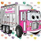 Valentine Garbage Truck Cartoon by Graphxpro