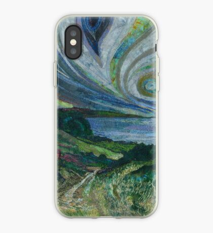 Clifftop Walk - Overstrand to Cromer, Norfolk Embroidery - Textile Art iPhone Case