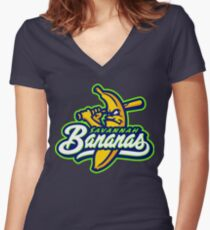 savannah bananas Women's Fitted V-Neck T-Shirt