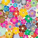 Abstract Colourful Cherry Blossom Flower Pattern by Patterns Galore