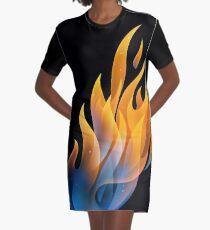 Brennendes Feuer, Flamme T-Shirt Kleid