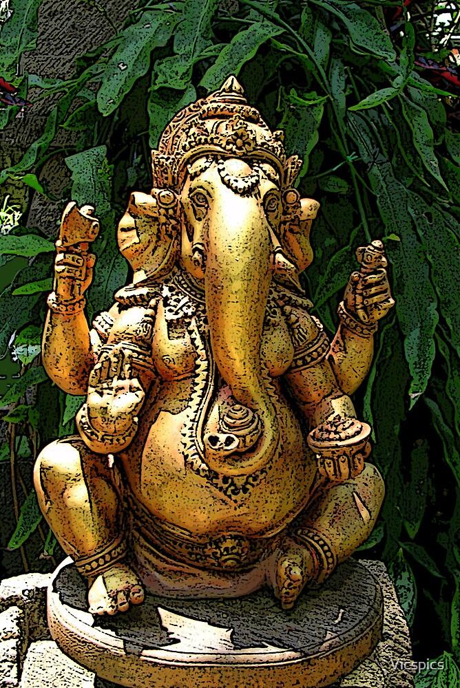 Gold Ganesh by Vicspics