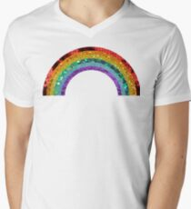 Rainbow Sequin Men's V-Neck T-Shirt