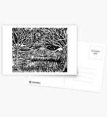Linocut Print Postcards