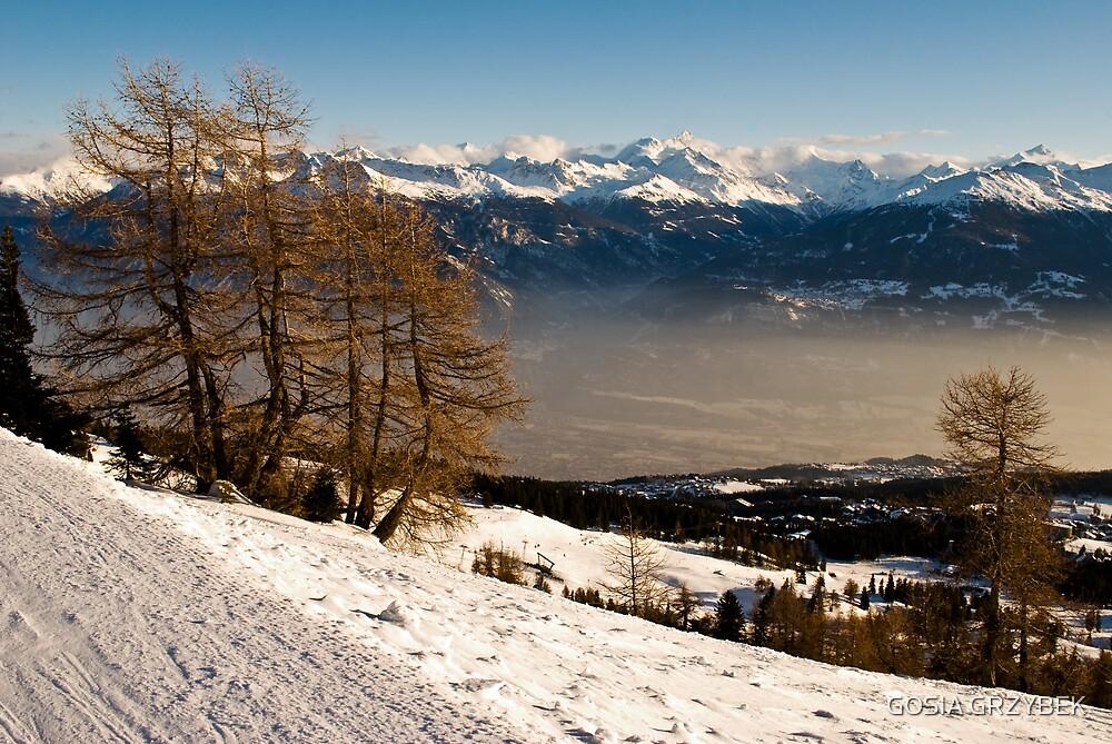on the ski slopes-Swiss -Crans Monatana by GOSIA GRZYBEK