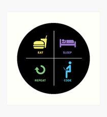 eat sleep code repeat Art Print