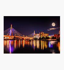 Moon light over Zakim bridge Photographic Print