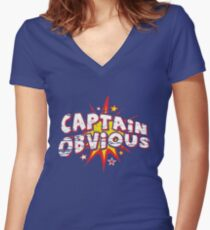 CAPTAIN OBVIOUS Women's Fitted V-Neck T-Shirt