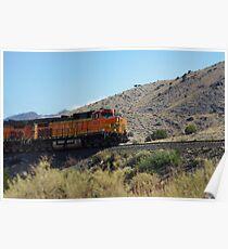 BNSF 5474 struggles up a high desert grade Poster