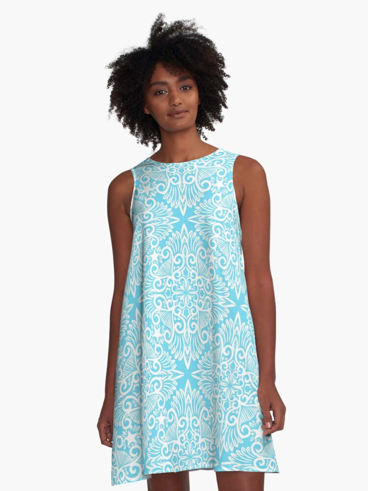Bright Blue Dream root A-Line Dress Front