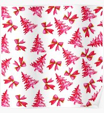 Pink Christmas Trees and Bows - Watercolor Christmas Poster