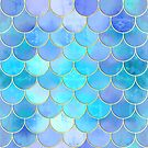 Aqua Pearlescent & Gold Mermaid Scale Pattern by tanyadraws