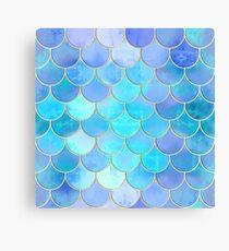 Aqua Pearlescent & Gold Mermaid Scale Pattern Canvas Print