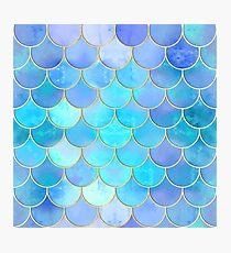 Aqua Pearlescent & Gold Mermaid Scale Pattern Photographic Print
