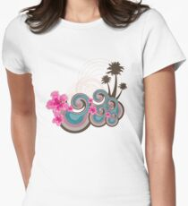 Tropical Waves & Fuchsia Pink Hibiscus Women's Fitted T-Shirt