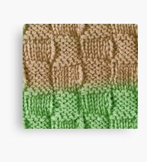 Knitted Wool square beige green Canvas Print