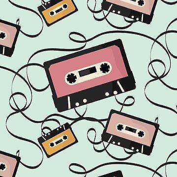 Press Play - Cassette Tape Pattern by gbloomdesign