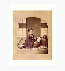 Japanese girl reading Art Print