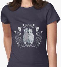 Raccoons cuddling. Folk art. Women's Fitted T-Shirt