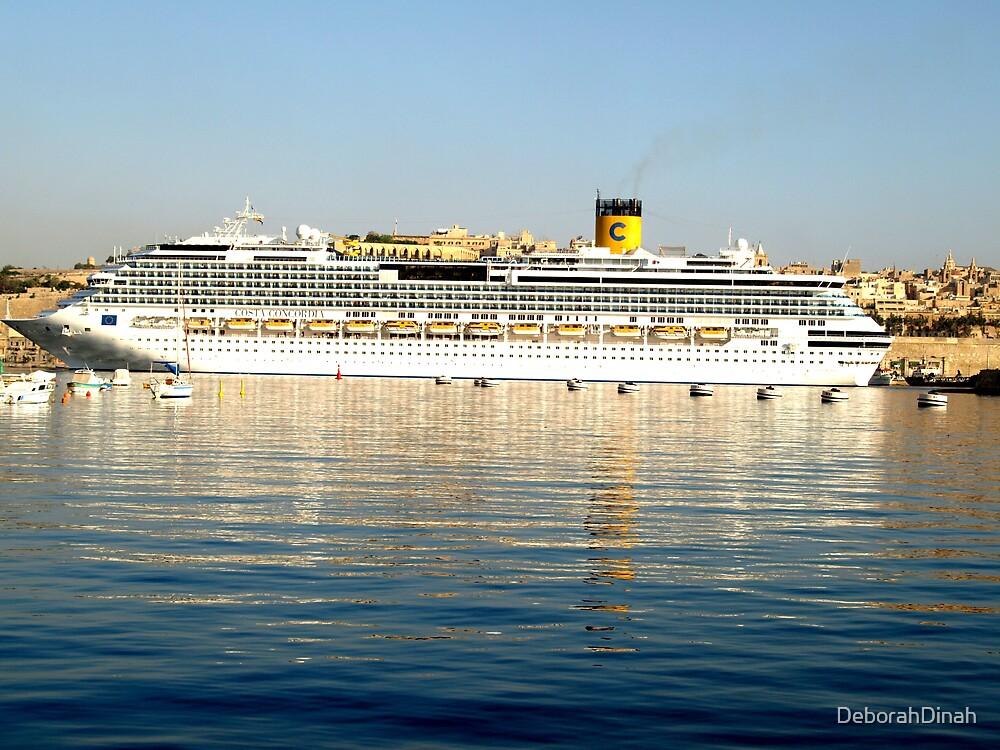 Cruise Liner in Grand Harbour Malta by DeborahDinah