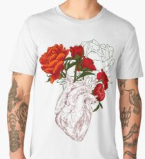 drawing Human heart with flowers Men's Premium T-Shirt