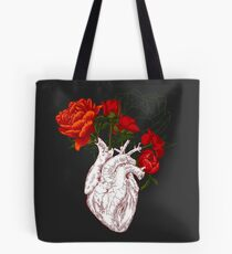 drawing Human heart with flowers Tote Bag