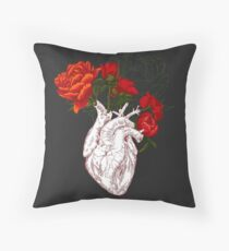 drawing Human heart with flowers Throw Pillow