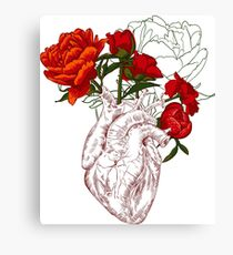 drawing Human heart with flowers Canvas Print